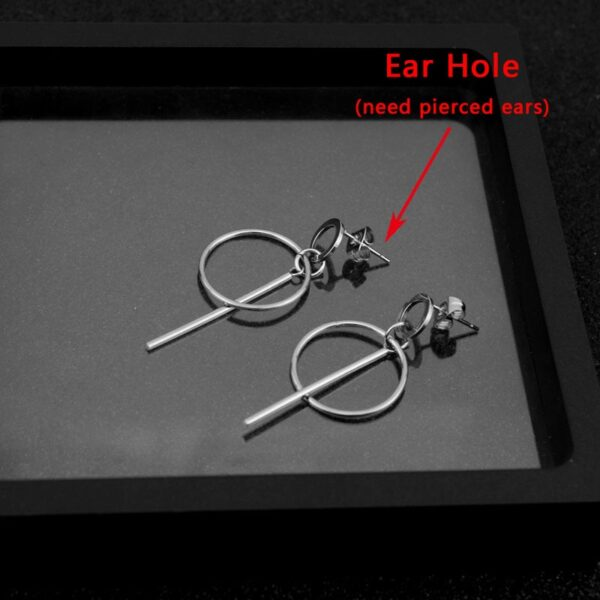 KPOP BTS V Stainless Steel Stud Earring Round Bar Circle Ear Clip for Both Girls and Boys